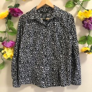 Style & Co Petite Leopard Print Gray/ Black Blouse